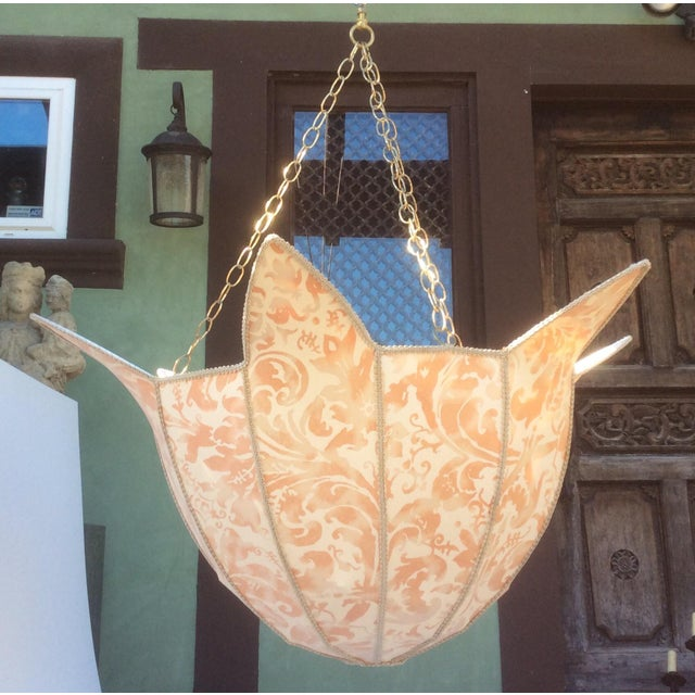 2000 - 2009 Large Fortuny Fabric Hanging Light Shade For Sale - Image 5 of 5