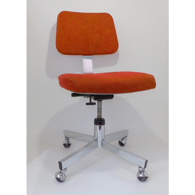 Mid Century Modern Interroyal Orange Wool Office Chair For Sale - Image 10 of 13