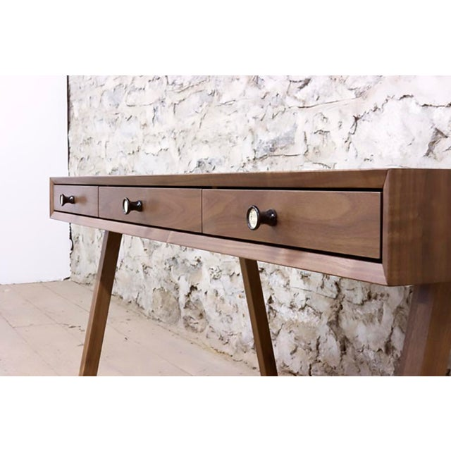 Solid walnut Fabric lined drawers by request at an additional fee Vintage pump organ drawer pulls Oil and wax finish...