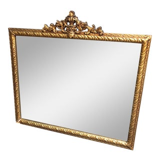 Mid Century Modern Gilt Gold Glass Wood Wall Mirror For Sale