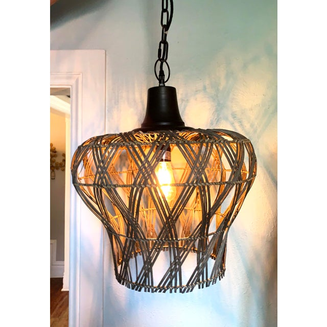 2010s Large Dusty Grey Green Rattan Bell Pendant Light by Kalalou For Sale - Image 5 of 13