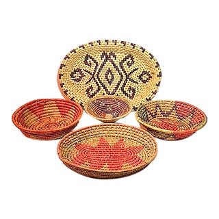Vintage Woven Coil Baskets - Set of 5