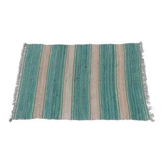 """Swedish Vintage Handwoven Rag Rug -- 3.4"""" x 5.25"""" For Sale"""