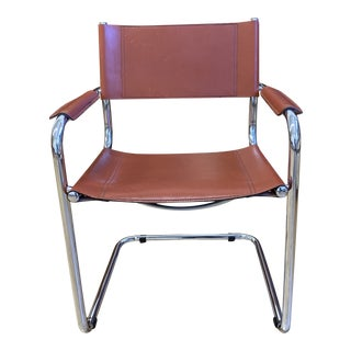 Mart Stam Chrome + Cognac Leather Arm Chair For Sale