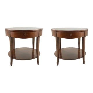 Barbara Barry for Henredon Skirted End Tables Pair For Sale