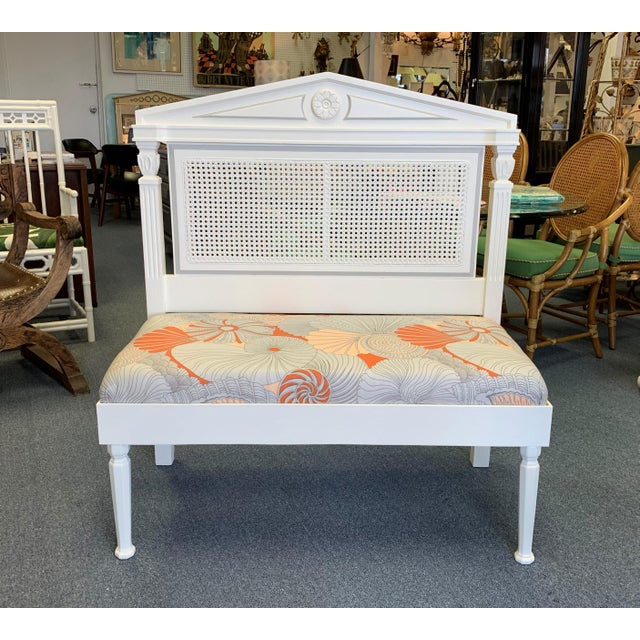 Mid 19th Century Vintage Neoclassic Caned Hall Bench For Sale - Image 10 of 11