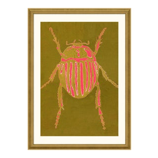 Striped Beetle - Bright Series no. 5 by Jessica Molnar in Gold Frame, Medium Art Print For Sale