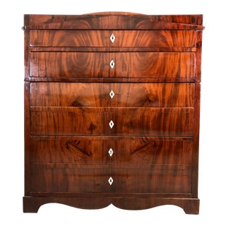 19th Century Biedermeier Figured Mahogany Chest of Drawers For Sale
