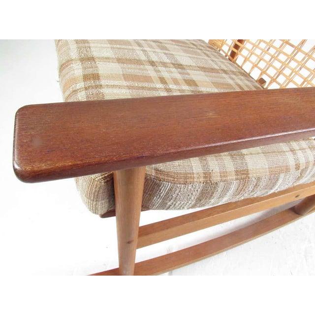 Vintage Hans Olsen Teak Rocking Chair With Cane Back For Sale In New York - Image 6 of 13