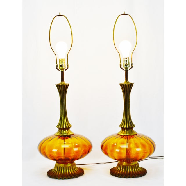 Mid Century Modern Amber Glass Table Lamps - a pair - Image 3 of 11