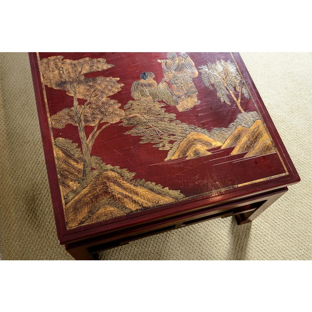 Antique Chinese Red Lacquer Coffee With Asian Decorative Panel Top For Sale In West Palm - Image 6 of 13