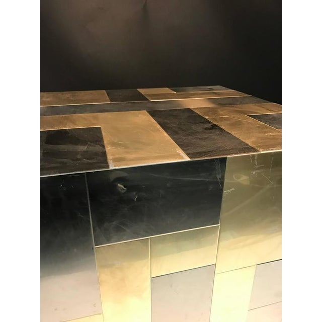 1970s UNUSUAL CUBE-SHAPED BRASS AND CHROME PATCHWORK TABLE BY PAUL EVANS For Sale - Image 5 of 9