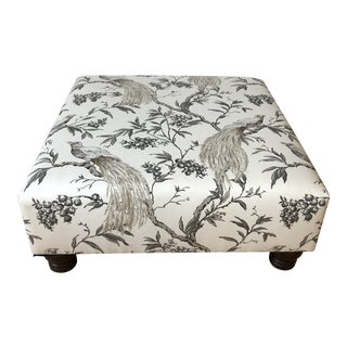 Fabric Covered Peacock Printed Ottoman For Sale