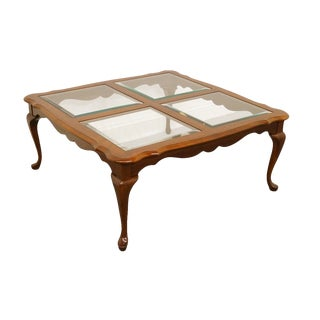 20th Century Queen Anne Pennsylvania House Solid Cherry Square Glass-Top Coffee Table For Sale
