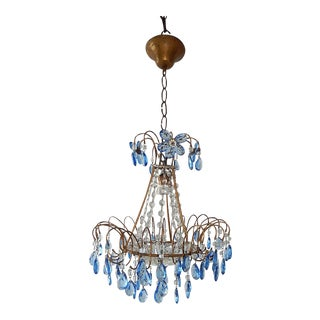 Italian Blue Crystal Prisms with Flowers Chandelier, circa 1920 For Sale