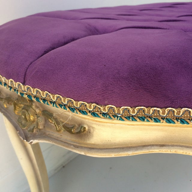Shabby Chic Purple Tufted Ottoman - Image 8 of 8