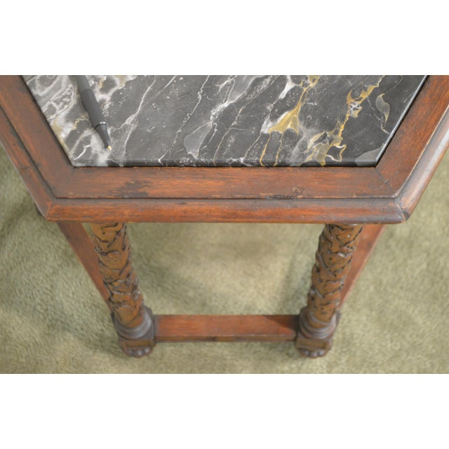 1910s Antique Italian Carved Walnut Hexagon Marble Top Taboret Side Table For Sale - Image 5 of 13