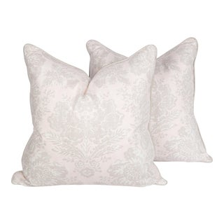 Blush and Ivory Windsor Baroque Linen Pillows, a Pair For Sale