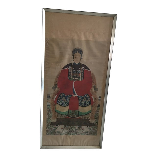 Early 20th Century Antique Chinese Ancestral Watercolor Portrait on Paper Painting For Sale