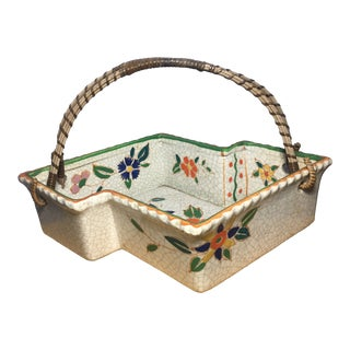 Vintage Hand Painted Floral Design 8 Sided Handled Basket For Sale