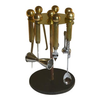 Maxwell Phillip Art Deco Brass Columns Bar Tools Set