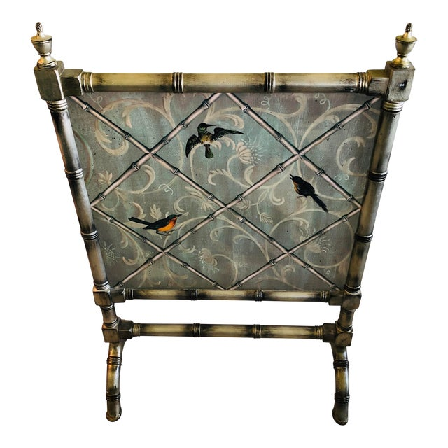 English Traditional Style Painted Wood Fireplace Screen For Sale