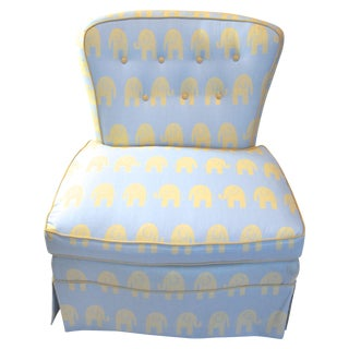 Vintage Blue Elephant Slipper Chair For Sale