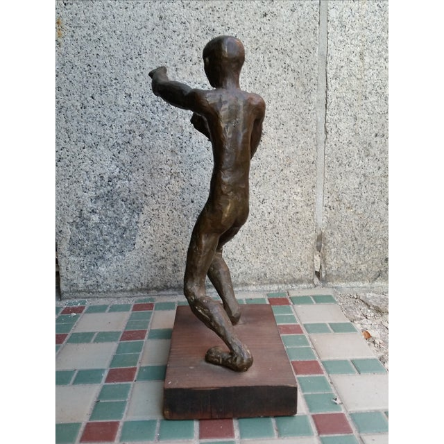 Brutalist Nude Male Bronze Sculpture - Image 5 of 9