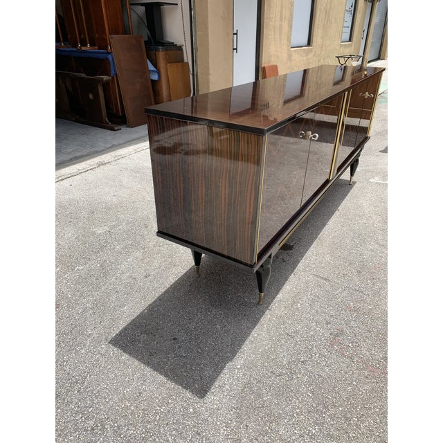 """1940s French Art Deco Exotic Macassar Ebony """"Zigzag"""" Buffet/Sideboard For Sale - Image 11 of 13"""
