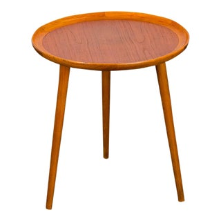 Danish Modern Teak Round Side Table For Sale
