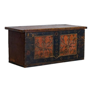 Antique Romanian Painted Trunk/Coffee Table For Sale