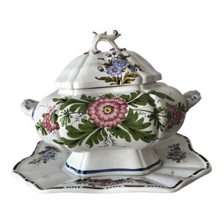 Petite Floral Porcelain Soup Tureen & Tray For Sale