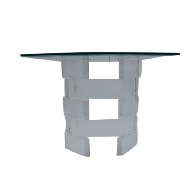 Sculptural Stacked Lucite & Glass Top Side Table - Image 1 of 10