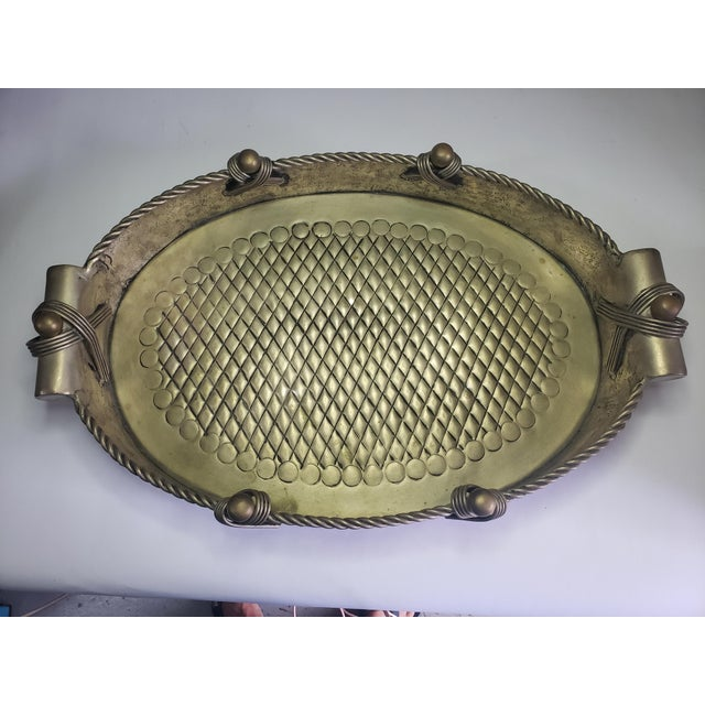 Metal Vintage John Richard Collection Silver Plate Hammered Serving Tray For Sale - Image 7 of 13