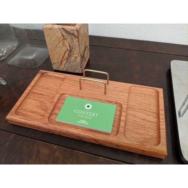 Mid-Century Modern Boho Chic Organic Modern Oak + Brass Desk Valet For Sale - Image 3 of 6