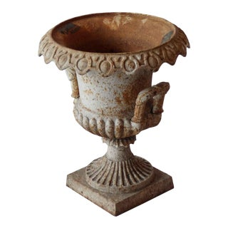 Mid 20th Century Traditional Cast Iron Urn With Handles and Distressed Paint Finish For Sale