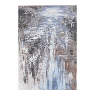 Modern Indian Handmade Abstract Blue Wool and Silk Rug For Sale