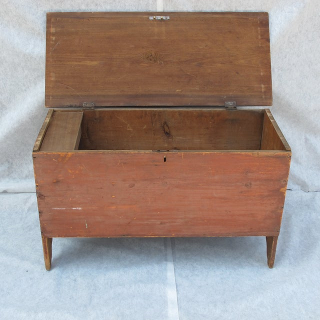 Original Red Painted Blanket Chest For Sale - Image 4 of 11