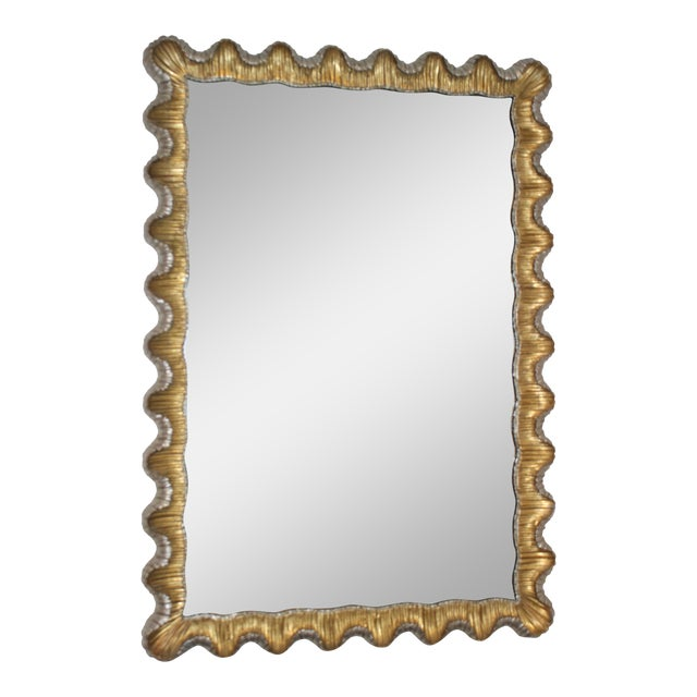 Florentine Mirror Gold and Silver Leaf Scalloped Wood Frame Hollywood Regency 1930s For Sale