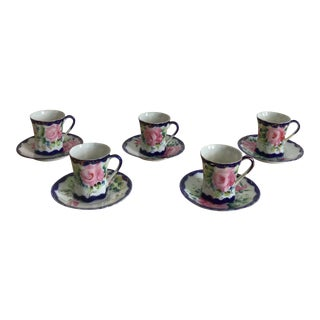 Antique Hand Painted Porcelain Nippon Chocolates Cups & Saucers - Set of 5 For Sale