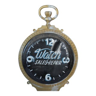 Late 19th C. Double Sided Cast Iron Advertising Clock Sign For Sale