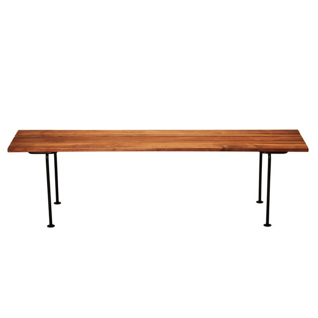 Split Bench in Walnut with Black legs - Image 3 of 4