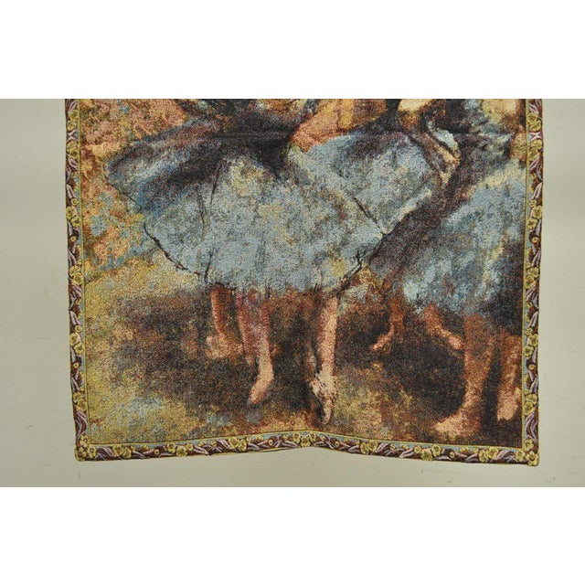 "French 35""x 25"" French Wall Hanging Tapestry Jacquard Ballet Dancers in Blue Edgar Degas For Sale - Image 3 of 6"