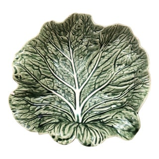 Majolica Cabbage Leaf Bowl by Bordallo Pinhiero of Portugal For Sale