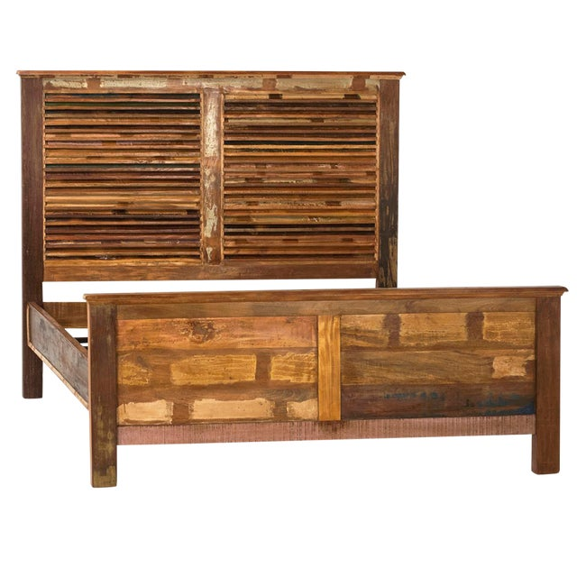 Reclaimed wood with shutter framed headboard cal king for Buy reclaimed wood los angeles