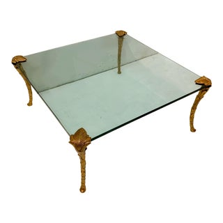 p.e. Guerin Style Gilt Metal & Glass Coffee Table For Sale