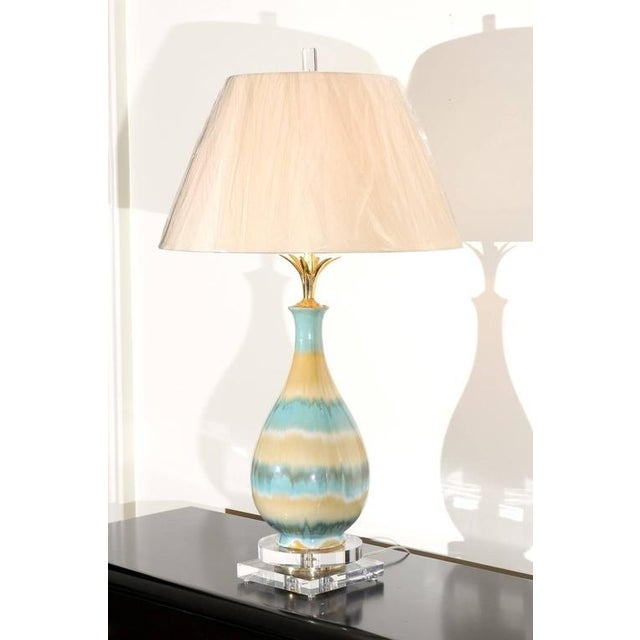 Brass Chic Pair of Large-Scale Drip Glaze Ceramic Lamps in Caramel and Sultanabad Blue For Sale - Image 7 of 11