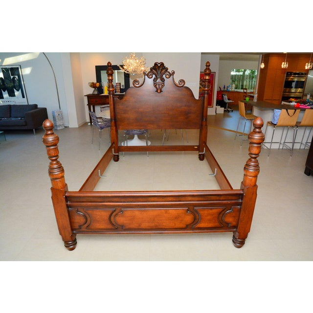 Brown Ralph Lauren Four Poster Carved Wood Queen Size Bed Frame For Sale - Image 8 of 9