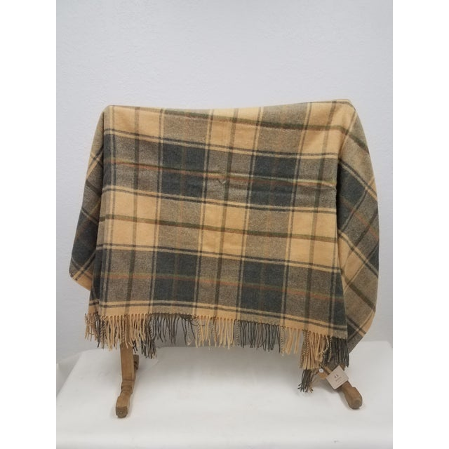 Merino Wool Throw Light Soft Beige Grey Green Red Plaid - Made in England A versatile throw in a plaid design made from...