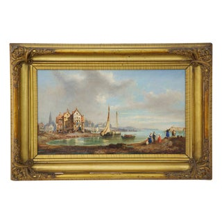 19th Century Signed Antique Landscape Painting of Village For Sale